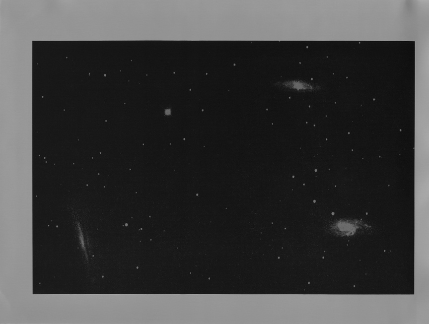 <b>three galaxies</b>, 2017, gelatin silver print, 8 x 10 in
