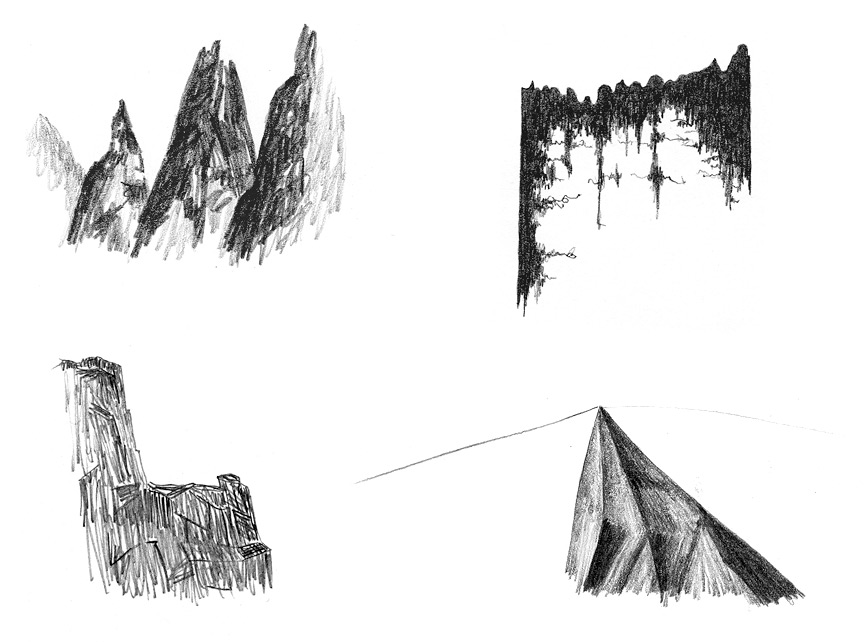 <b>Mountain 1, 2, 3, 5</b>, 2011, graphite on paper